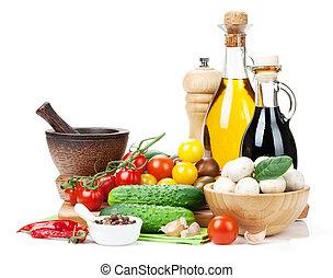 Fresh ingredients for cooking: tomato, cucumber, mushroom...