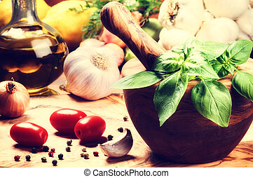 Fresh ingredients for healthy cooking