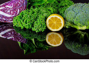 Fresh ingredients for healthy smoothie or salad.