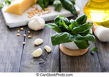 Fresh ingredients for making Italian pesto sauce