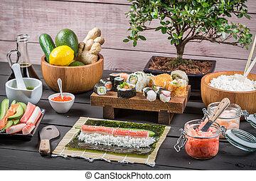 Fresh ingredients for sushi