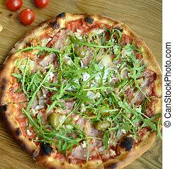 Fresh italian pizza closeup