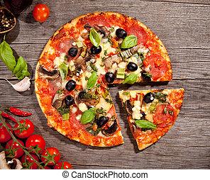 Fresh italian pizza, upper view