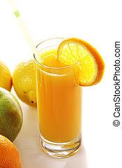 Fresh juice and fruits