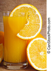fresh juice and slice of orange