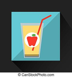 fresh juice apple and cup glass straw design