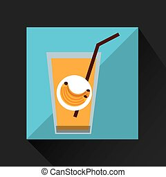fresh juice banana and cup glass straw design