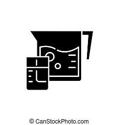Fresh juice black icon, vector sign on isolated background. Fresh juice concept symbol, illustration