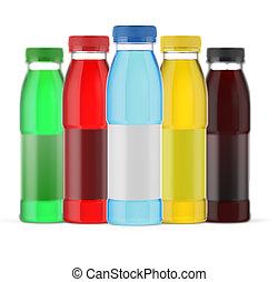 fresh juice bottles on white background
