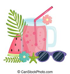fresh juice fruit jar with straw and sunglasses