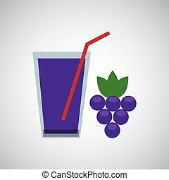 fresh juice grapes and cup glass straw design