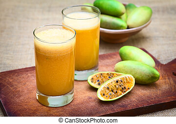 Fresh Juice Made of Banana Passionfruit (lat. Passiflora...