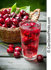Fresh juice made of sweet cherries and ice