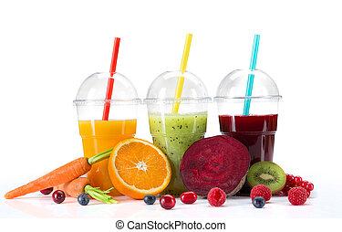 Fresh juice mix fruit, healthy drinks on white background.