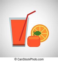 fresh juice orange and cup glass straw design