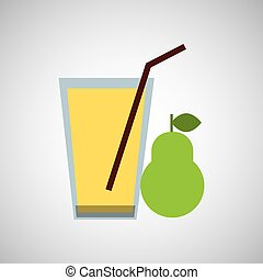 fresh juice pear and cup glass straw design
