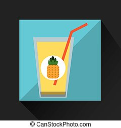 fresh juice pineapple and cup glass straw design