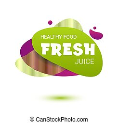 Fresh juice tag. Bright splash shiny stickers, organic emblems, tags and labels. For badges of fresh market, detox, farmers market, eco shop, smoothies drinks, juice cafe, green bar.