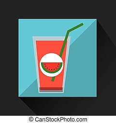 fresh juice watermelon and cup glass straw design