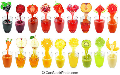 fresh juices - collage of fruit and vegetable juice isolated...