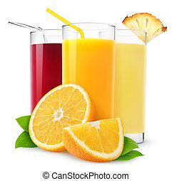 Glasses of orange, pineapple and cherry juice isolated on white