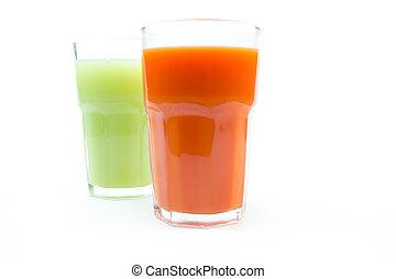 Fresh juices isolated on white
