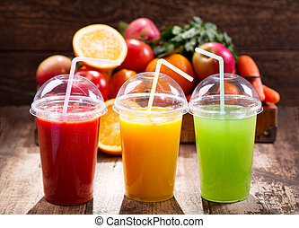 Fresh juices with fruits and vegetables