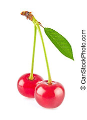 Fresh juicy cherries with green leaf