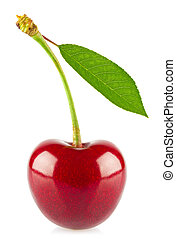 Fresh juicy cherry with green leaf