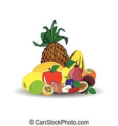 Fresh juicy fruit isolated on white background.