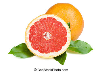 Fresh juicy grapefruit with green leafs. Isolated on white...