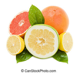 Fresh juicy grapefruits with green leafs. Isolated on white background