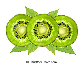 fresh juicy kiwi slices isolated on white background