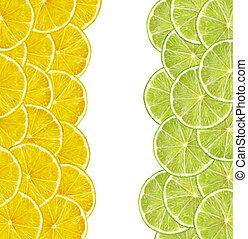 fresh juicy lemon and lime slices on white background