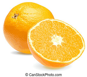 Fresh juicy orange close up on a white background