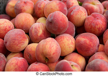 Fresh juicy peaches in the box