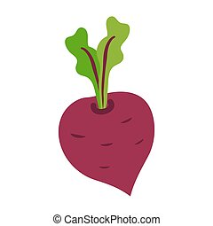 Icon of ripe beetroot with big green leaves.