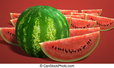 Fresh juicy watermelon - Ripe single whole watermelon and...