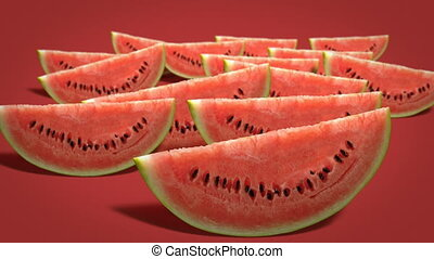 Fresh juicy watermelon slices - Watermelon slices on red...