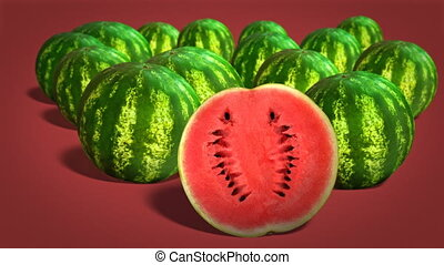 Fresh juicy watermelons - Ripe watermelons on red background...