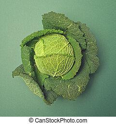 Fresh kale on green backgound - Top view