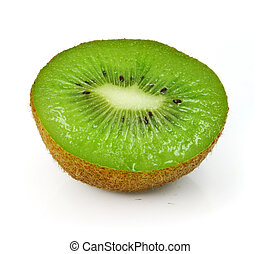 fresh kiwi fruit cut isolated on white