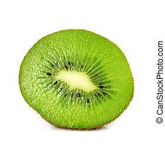 fresh kiwi fruit cut isolated on white