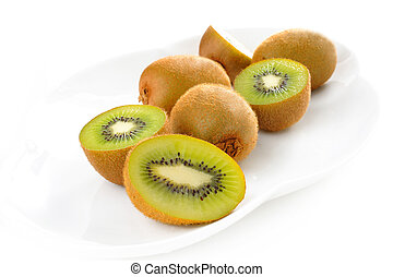 fresh kiwi fruit on plate