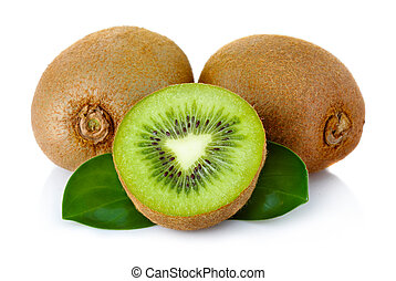 Fresh kiwi fruit with green leaves isolated on white