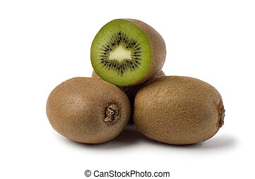 kiwi - fresh kiwi fruits on white background close up
