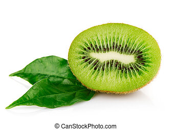 fresh kiwi fruits with green leaves