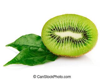 fresh kiwi fruits with green leaves