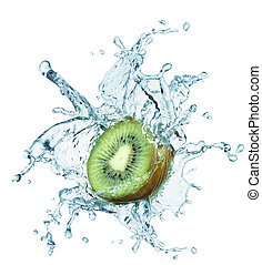 kiwi jumping into water with a splash - Fresh kiwi jumping...