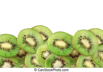 fresh kiwi slices isolated on the white background